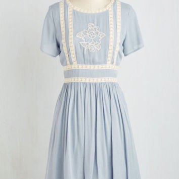 Boho Mid-length Short Sleeves A-line Flair Folk Dress by ModCloth