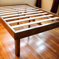 Rustic Wood Minimalist Bed Frame - Twin Full Queen King