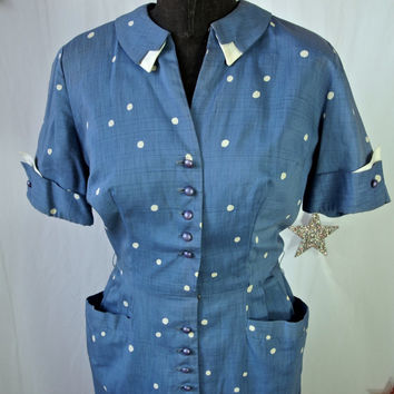 40's Vintage Blue Polka Dot Dress Betty Hartford Cotton Print  Pin Up Girl size small