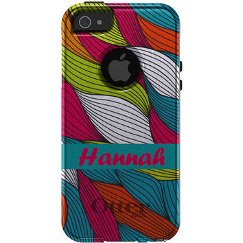 Personalized CUSTOM monogrammed OTTERBOX Commuter Case for iPhone 5 5S - Pink Blue Green Orange White Leaves