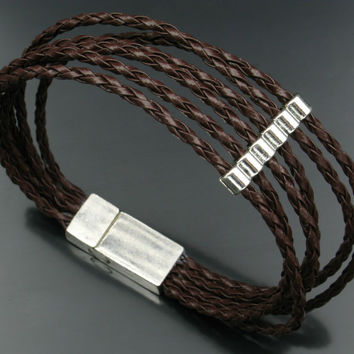 Vintage brown leather cord magnet buckle Bracelet