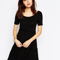ASOS Tiered Swing Dress with Short Sleeves