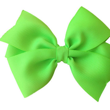 Lime green hair bow - lime green bow, 4 inch bow