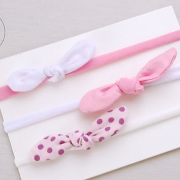 PINK  Set Thin Top KNOT Headband Bow Headband You PICK Toddler Headband Set Headband Baby Bow Headband Knot Headband
