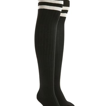 Varsity Striped Over-The-Knee Socks