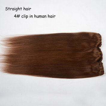 "16""-24""Clip in Hair 100% virgin remy human hair weft extensions #4 medium brown"