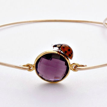 Amethyst Gold Filled Bangle Bracelet - Stackable Wire Gemstone Bangle - 14K Gold Filled Bezel Set Amethyst