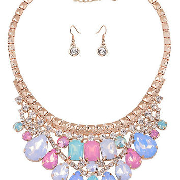 V-Shaped Multicolor Gems Jewelry Set
