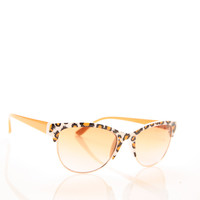 Leopard Frame Cat Retro Sunglasses FUCHSIA