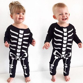Spring Autumn Newborn Baby Girls Boys Halloween Party Rompers Kids Costume Skull Romper Baby Halloween Clothes 0-24 Months
