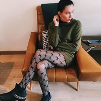 Star Printed Fishnet Tights