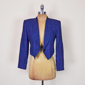 Vintage 80s 90s Blue Plaid Blazer Jacket Crop Blazer Crop Jacket Tuxedo Blazer Boyfriend Blazer 90s Grunge Clueless Women XS Extra Small