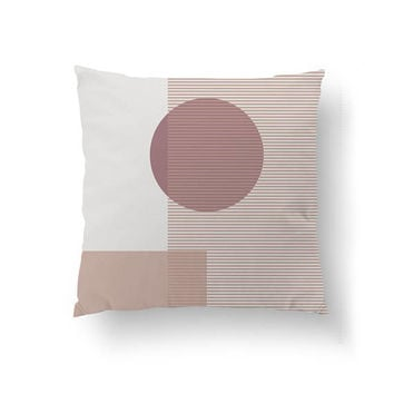 Pink White Pillow, Subdued Textures, Cushion Cover, Nordic Design, Throw Pillow, Simple Art, Decorative Pillow, Home Decor, Circle Pillow