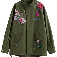 Army Green Floral Detail Studded Parka Jacket