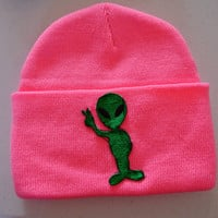 ALIEN Neon Pink Hipster Hand Patched Beanie by MoonShineApparel