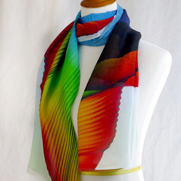 Silk Chiffon Shawl: Wings Series 2, Summer scarf, lightweight sheer scarf