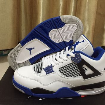 Air Jordan Retro 4 IV Motorsport Men Women Basketball Shoes White Black Game Royal Blue 4s Sports Sneakers Size 36-47 With Box