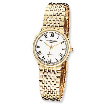 Men's Polished Gold-Plated Watch by Charles Hubert