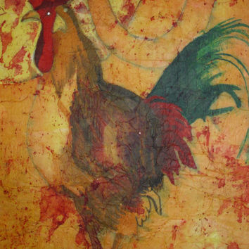 Original rooster painting oversized impressionist watercolor batik on rice paper 17x24 inches vintage-like distressed look McKinzie