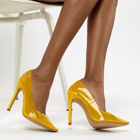 Public Desire Extra transparent yellow pumps at asos.com