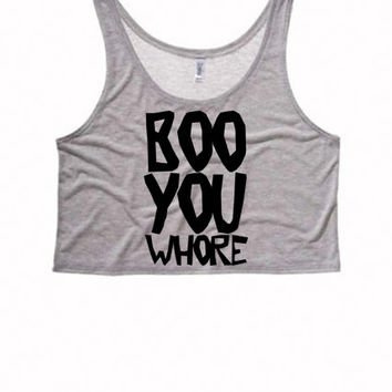 Boo You Whore Boxy Crop Top | Mean Girls Top Sassy Tank Top Tumblr | Teen Girl Mean Girls Tank Top | You Can't Sit w Us | BOO YOU WHORE