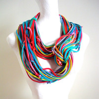 Vivid Carnival Stripes Infinity Scarf Rainbow Circle Scarf Bright Colors Cowl Scarf Winter Accessories Upcycled Clothing