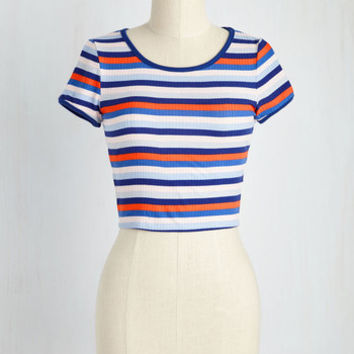 Playful Come She Will Top in Blue Stripes | Mod Retro Vintage Short Sleeve Shirts | ModCloth.com