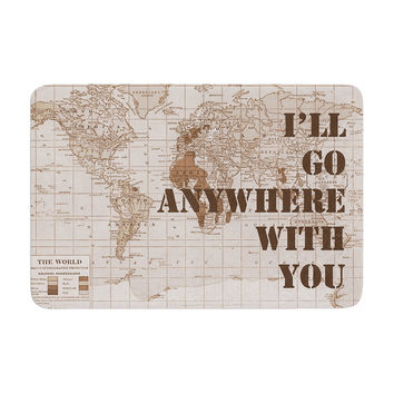 """Catherine Holcombe """"I'll Go Anywhere With You"""" Brown Map Memory Foam Bath Mat"""