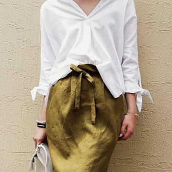 White Collared High-Low Blouse