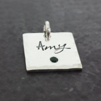 Personalized Square Birthstone Charm