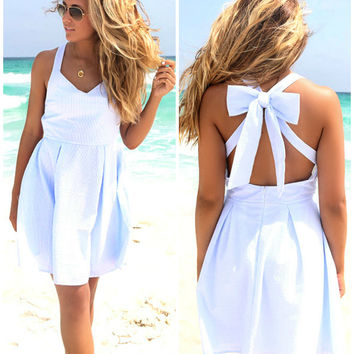 Sand Dollar Baby Blue Seer Sucker Bow Back Dress