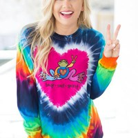 Peace Frogs: Tie Dye Heart L/S T-Shirt: Multi