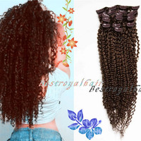 Long Curly Human Hair Extension, Chestnut Brown Color Indian remy clip in hair extensions RHS024