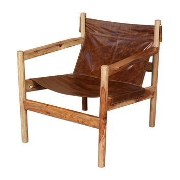 Porter Genoa Solid Sheesham and Leather Sling Chair (India)   Overstock.com Shopping - The Best Deals on Chairs & Recliners