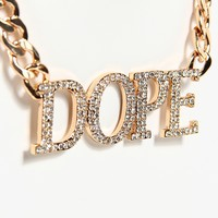Dope Rhinestone Chain Necklace - Gold