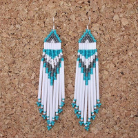 ROARING WATERS - Earrings w/SS 925 Earrings - Beaded Southwestern Earrings