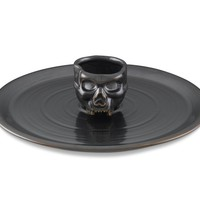 Halloween Skull Appetizer Tray with Dip Bowl