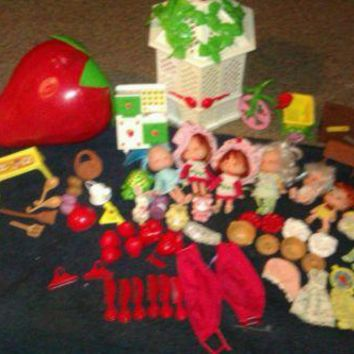 VINTAGE 1980s HUGE STRAWBERRY SHORTCAKE LOT DOLLS GAZEBO FURNITURE CLOTHES RARE