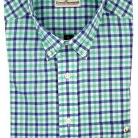 Button Down in Seafoam and Blue Gingham by Cotton Brothers