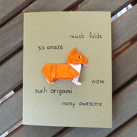 doge card, funny card, funny dog card, funny corgi card, shibe card, origami card, blank card, any occasion card, friend card, cute card