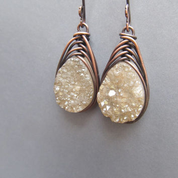 Raw Druzy Earrings Wire Wrap Earrings Rustic Jewelry DanielleRoseBean Raw Gemstone Dangle Earrings Wire Wrap Drusy Earrings