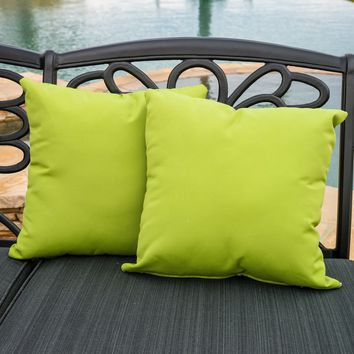 "Samara Green 17"" Outdoor Sunbrella Accent Pillows (Set of 2)"