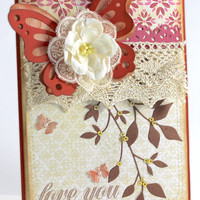 "Mother's Day card, Handmade card, Love you card, Mom, Greeting card, 5"" x 7"", Love you,for Grandma, Step- mom Any Occasion"