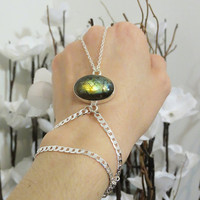 Sterling Silver Labradorite Slave Bracelet Ring. 100% Sterling Silver. Stamped 925. Genuine Labradorite Gemstone. Hand Harness, Hand Chain