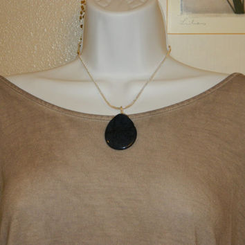 80ct. Deep Blue Stone, Semi Precious, Agate, Pendant, Necklace, Teardrop, Natural Stone, 121-15