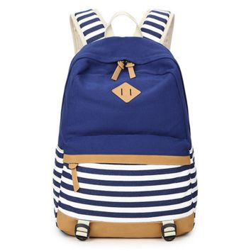 Striped Canvas Durable Backpack