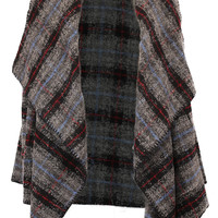 Oversized Collar Plaid Wool Sweater Coat - Gray/Multi