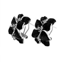 Black Leaf Gold Plated Base Earrings, Fashion Jewelry, Nickel Free, Rhinestone