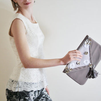 clutch beige clutch metal applique clutch neutral evening purse envelope clutch tassel clutch formal ready to ship WANDERER