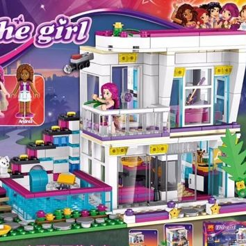 10498 Friends Livi's Pop Star House Compatible With Legoe Building Block Set Andrea 41135 Brick Toy 01046 For Girls